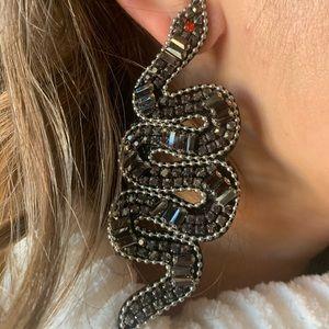 Jewelry - Pewter beaded snake earrings